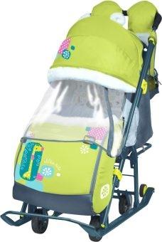 Коляска-санки комбинированная с трансформируемым кузовом Ника детям 7-2,рис. с жирафом (лимонный)