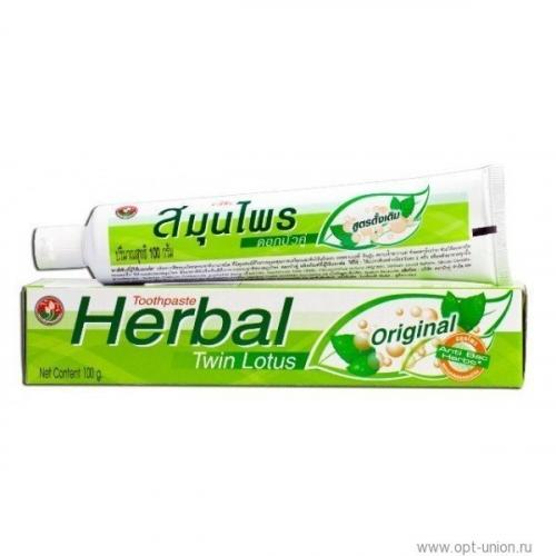 Зубная паста Herbal Original Twin Lotus, с травами оригинальная, 100 г