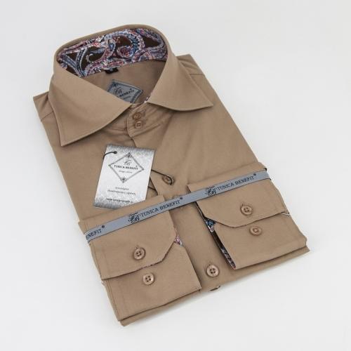 Мужская рубашка 226-19-m12f-slbrn