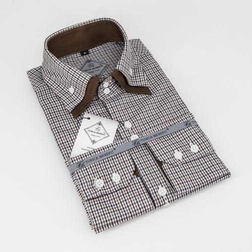 Мужская рубашка 223-18-m22s-pblkbrn
