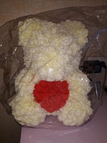 Мишка с сердцем белый с красным  (копия)
