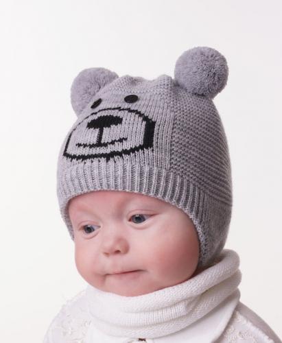 Шапка дет. 'Медвежонок' хлопковый подклад