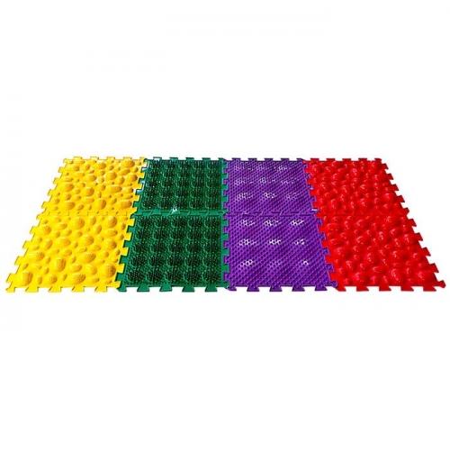 Коврик массажный модульный «ОРТО ПАЗЛ», 8 модулей, 4 вида покрытия, МИКС «Саванна»