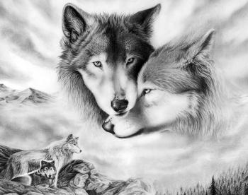 Алмазная мозайка: Волчья любовь размер 48х38 Ag 410