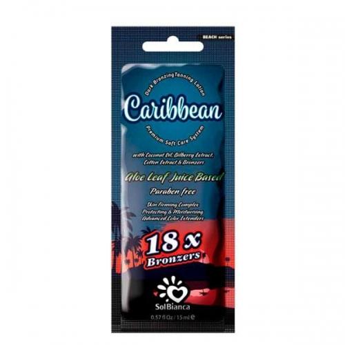 """Крем д/солярия """"Caribbean"""" 18х bronzer,15мл (масло кокоса, экстракты ягод черники и хлопка)"""
