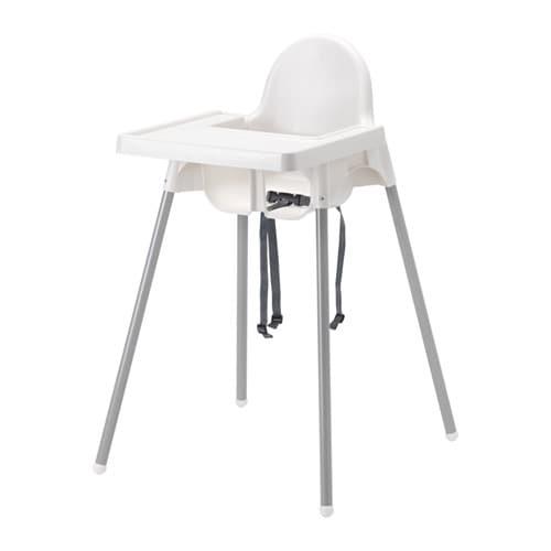 АНТИЛОП, Высокий стульчик со столешн, серебристый белый, серебристый