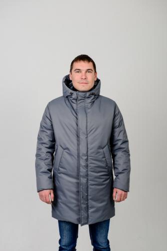 Куртка парка мужская демисезонная,с утеплителем.Цвет-серый Арт.КМ-003