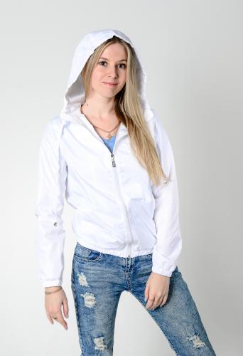 Куртка-ветровка женская,с капюшоном,цвет-белый, Арт. KG-002
