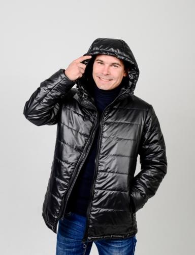 Куртка мужская демисезонная,с утеплителем. Цвет-черный.Арт.КМ-002
