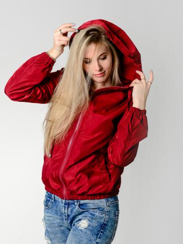 Куртка-ветровка женская,с капюшоном,цвет-бордо Aрт. KG-002