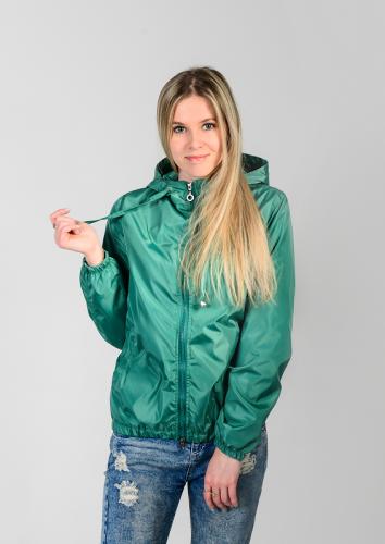 Куртка-ветровка женская,с капюшоном,цвет-изумрудный, Арт. KG-002
