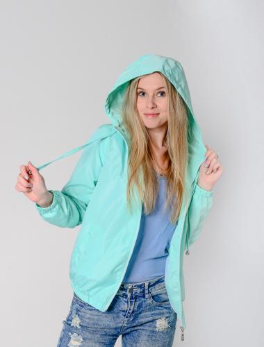 990 1290Куртка-ветровка женская,с капюшоном,цвет-ментол, Арт. KG-002