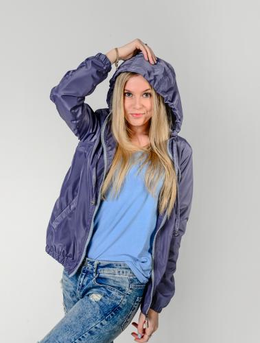 890 1190Куртка-ветровка женская,с капюшоном,цвет-серо-фиолетовый Aрт. KG-002