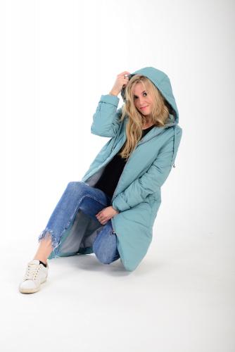 Удлиненное пальто с капюшоном арт KG-003 DL