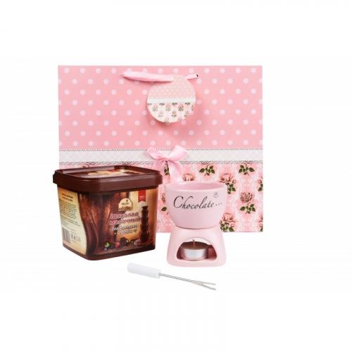 1288 Набор для фондю: шоколад 500гр + розовая фондюшница + свеча + подарочный пакет
