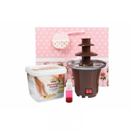 1292 Набор шоколадный фонтан Мини: цветной шоколад 500гр + шоколадный фонтан Мини + подарочный пакет