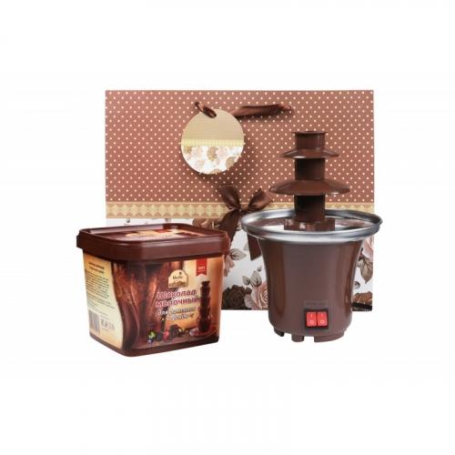 1293 Набор шоколадный фонтан Мини: шоколад 500гр + шоколадный фонтан Мини + подарочный пакет