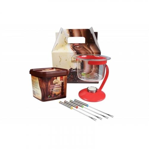 1290 Набор для фондю: шоколад 500гр + набор для фондю Премиум + свеча + подарочная коробка