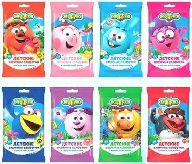 Смешарики №20 влажные детские салфетки Mix (8 SKU)