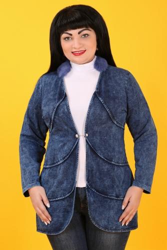 СИМАН 5027 Жакет джинсовый+булавка