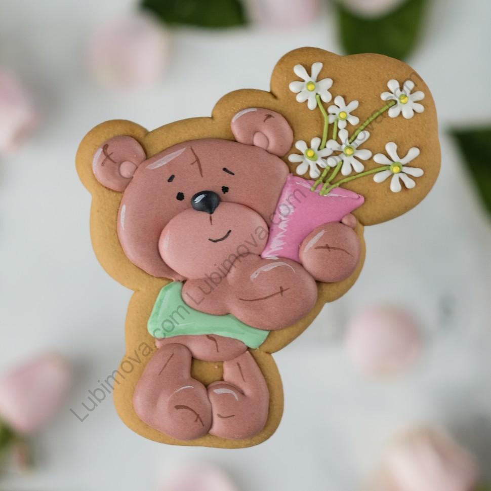 тем картинка мишка с цветами для пряника плитка