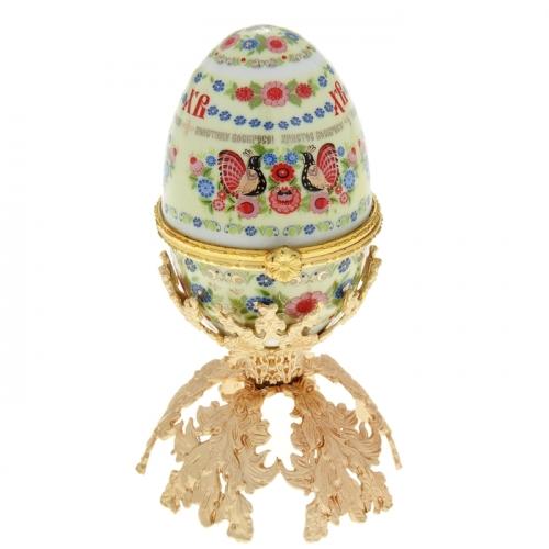 Пасхальное яйцо-шкатулка «Хохлома», 10 см. на металлической подставке