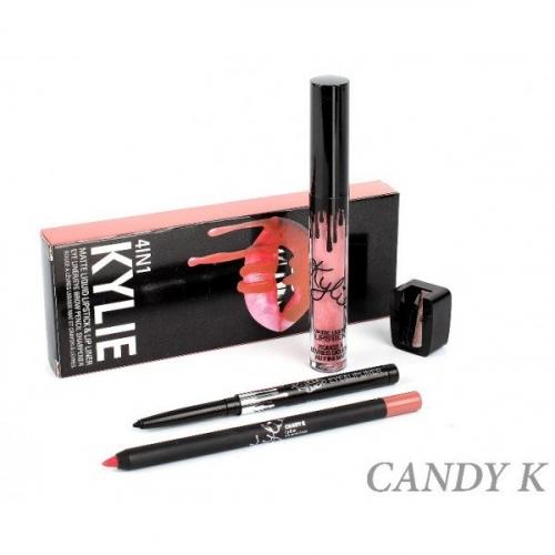Набор Kylie 4in1 Candy K (помада, карандаш д/губ, карандаш д/глаз точилка)(копия)