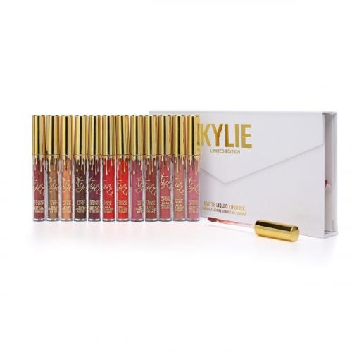Помада жидкая матовая Kylie LIMITED EDITION Matte Liquid Lipstick (12шт) золотой колпачок(копия)