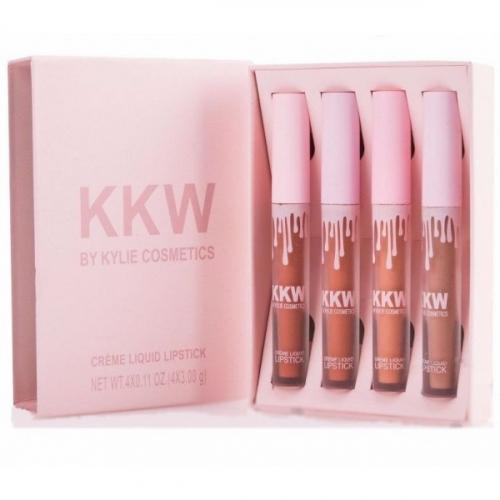 Помада стойкая матовая Kylie KKW Creme Liquid Lipstick (4шт) розовая(копия)