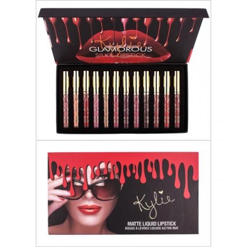 Помада жидкая матовая Kylie Glamorous Silky Lipstick (12шт) золотой колпачок(копия)