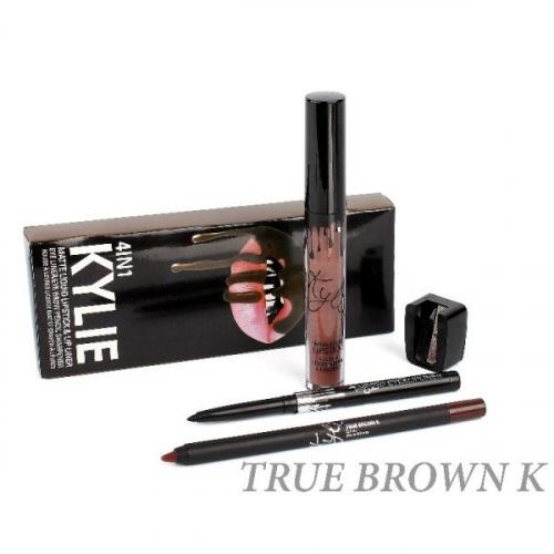 Набор Kylie 4in1 True Brown K (помада, карандаш д/губ, карандаш д/глаз точилка)(копия)