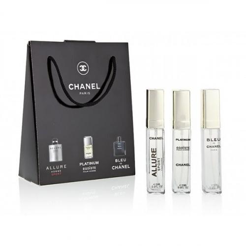 Подарочный набор Chanel в пакете Allure Homme Sport+Platinum Egoiste+Bleu de Chanel 3x15 ml (мужской)(копия)