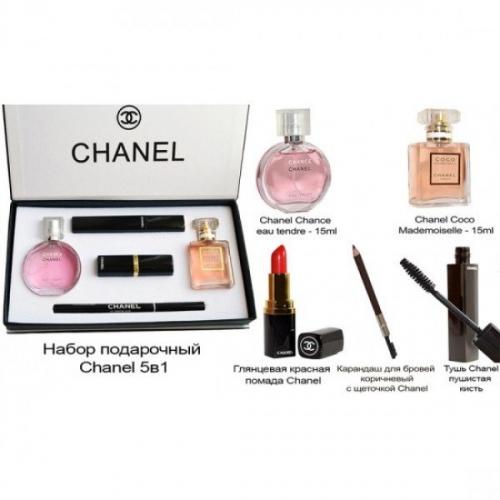 Подарочный набор CHANEL (тушь, помада, карандаш, Chanel Chance eau Tender 30ml, Chanel Coco Mademoiselle 30ml)(копия)