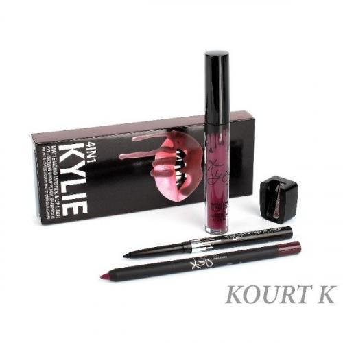 Набор Kylie 4in1 Kourt K (помада, карандаш д/губ, карандаш д/глаз точилка)(копия)