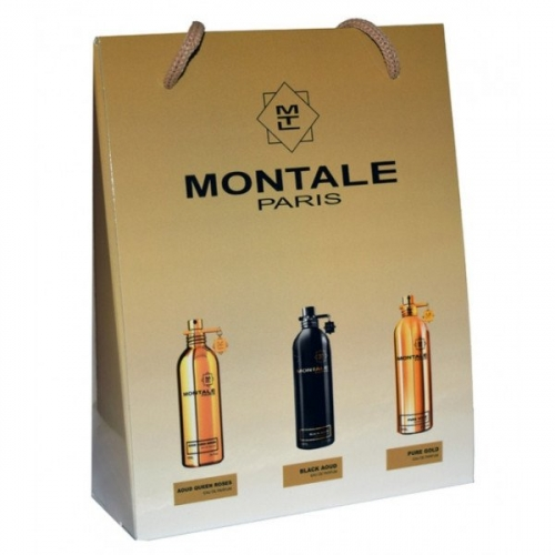 Подарочный набор Montale в пакете Aoud Queen Roses+Black Aoud+Pure Gold 3х15ml (унисекс)(копия)