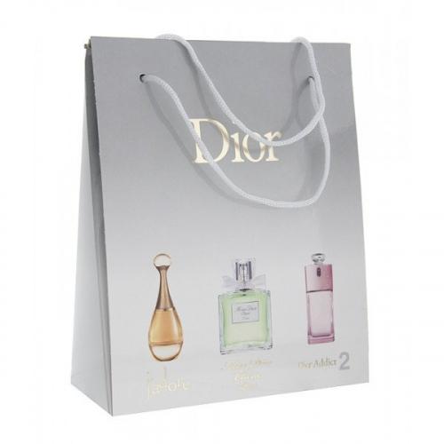 Подарочный набор Christian Dior в пакете J'Adore+Miss Dior Cherie L'Eau+Dior Addict 2 3x15 ml (женский)(копия)