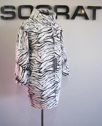 Пальто дс № 1199 SRT-F 156-1 D#ZEBRA col#WHITEBLACK .