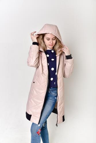 Стеганная удлиненная куртка-бомбер с капюшоном, арт.BG1505