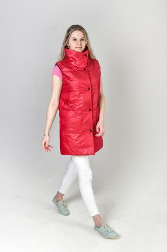 Утепленный женский жилет с воротником-стойкой и накладнами карманами, арт.GG-008
