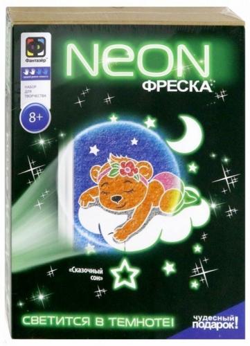 430007 Неон фреска Сказочный сон Мишка с бантиком