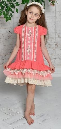 платье для девочки Л 18-7 Неженка горох коралл