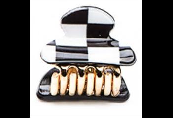 377622/01-01 черный/белый  женские набор заколка-краб (2шт)
