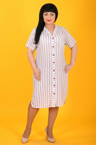 2В 4729 Платье бело серый