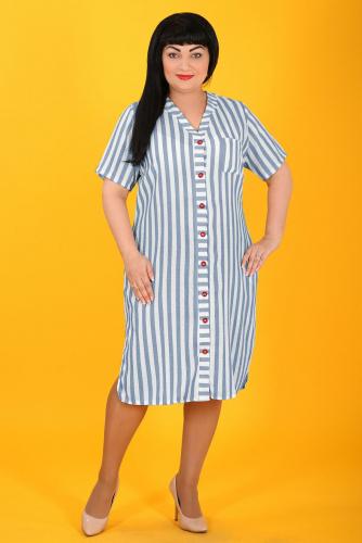 2В 4729 Платье бело голубой