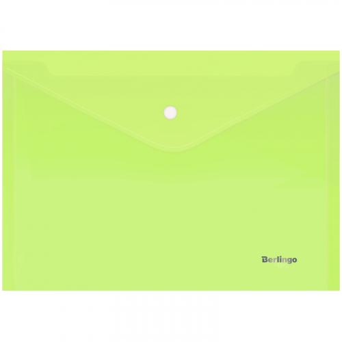 Папка-конверт на кнопке Berlingo  Starlight , А4, 180мкм, прозрачная салатовая, индив. ШК