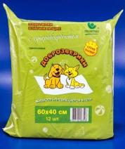Пелигрин Доброзверики Подстилки впитывающие д/животных с суперабсорбентом 60*40*12шт