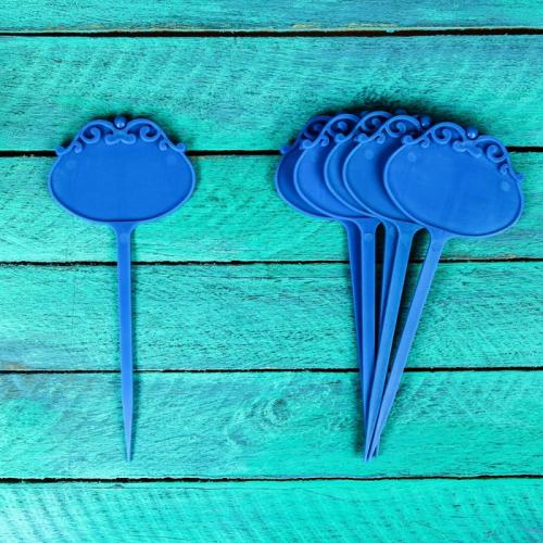 Ярлыки садовые для маркировки, фигурные, 15 см, набор 6 шт., пластик, синие