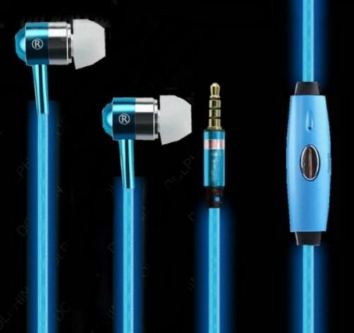 Светящиеся вакуумные металлические наушники Glow с белым EL свечением гильза