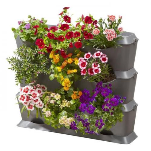 Фитомодуль для садоводства, горизонтальный: 3 ёмкости, 3 крышки, 1 поддон, 12 клипс