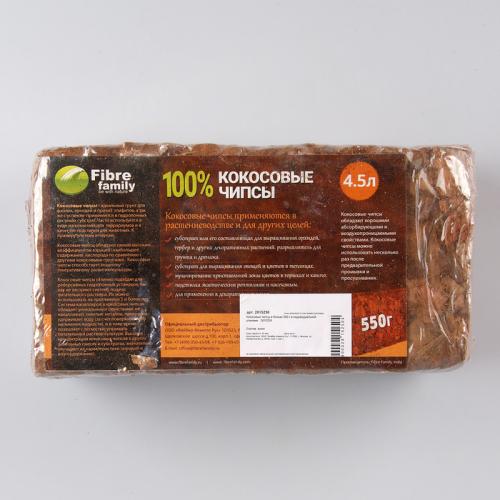 Субстрат кокосовый в блоке, 21 × 11 × 7 см, 4,5 л, индивидуальная упаковка